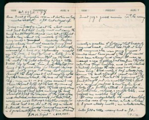 Diary entries from Jack Lovelock's training diary, by Jack Lovelock. 1936. Alexander Turnbull Library. MSX-2510-114.